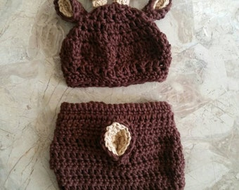 Baby Stag Deer Hat/Diaper Cover