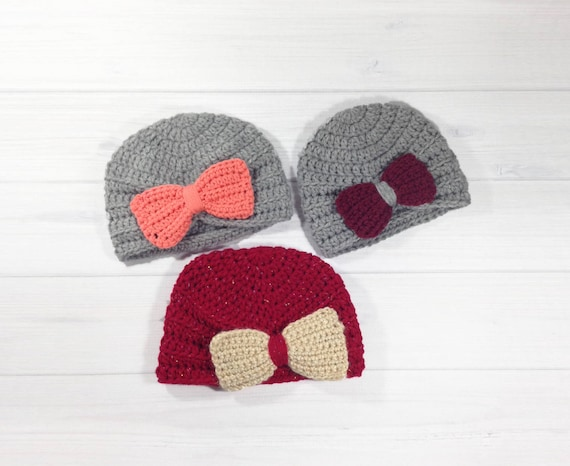 Baby Girl Turban Hat Infant Hat With Bow Crochet Winter Etsy