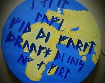 Painting Rune quote 'World'