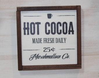 Hot Cocoa Seasonal Wood Sign, Christmas Decor, Xmas Sign, Kitchen Sign, Farmhouse Sign