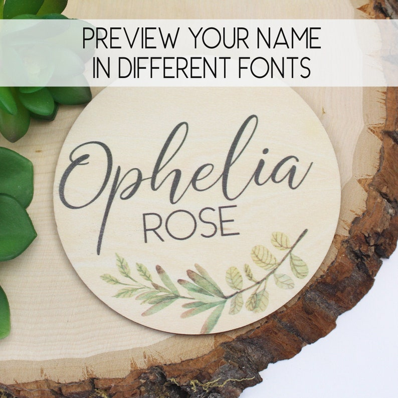 Baby Name Announcement Sign with Greenery Pregnancy or Birth image 0