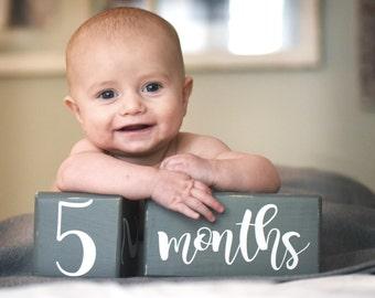 Baby Milestone Blocks, Baby Age Blocks, Baby Shower Gift, Photo Blocks, Photo Prop
