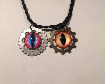 Steampunk Gear Eyes Necklace