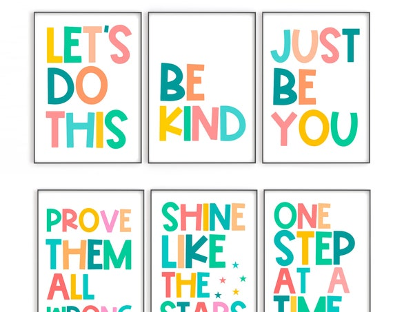 Kids Room Art, Kids Quote Print, Set of Prints, Playroom Decor, Motivational Print, Colourful Art