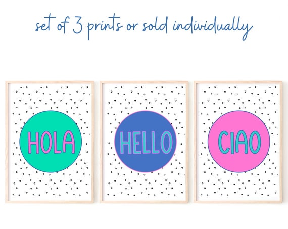 Hello Art Print, Hola Ciao Poster, Colourful Wall Art, Entrance Wall Decor, Colourful Home Decor