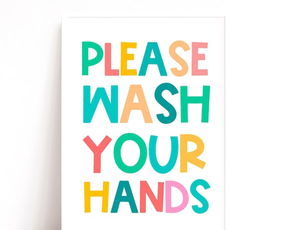 Please Wash Your Hands, Hand Wash Sign, Instant Download Print