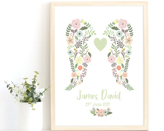 Angel Wings Print, Rainbow Baby, Infant Loss Print, Baby Keepsake, Stillborn Baby, Miscarriage, Bereavement Gift