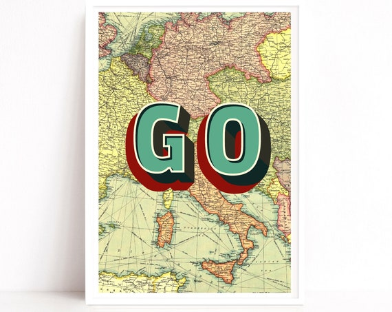 Travel Quote Print, Map Wall Art, Travel Lover Gifts, Industrial Wall Decor