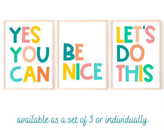Kids Room Art, Kids Quote Print, Playroom Decor, Motivational Print, Colourful Art, Set of 3 Prints