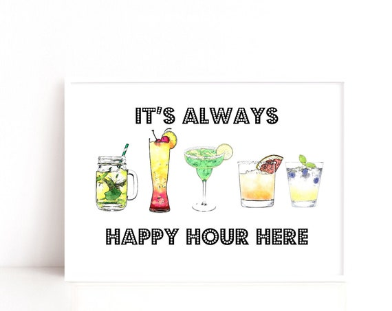 Happy Hour Poster, Cocktail Art Print, Kitchen Print, Gift for Friend