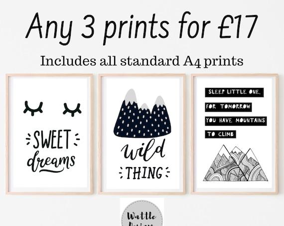 Any 3 Prints, Set of 3 Art Prints, Gallery Wall Prints, Wattle Designs Prints