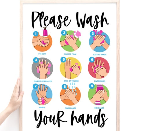 Wash Your Hands Sign, Hand Washing Poster, Bathroom Decor