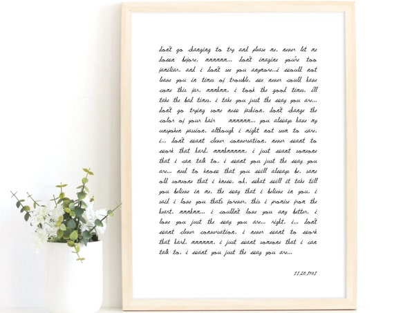 Custom Song Lyric Print, Wedding Speech Print, Poem Verse Poster, Book Extract Quote, Love Letter Print