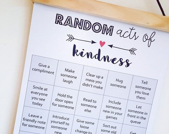 Random Acts of Kindness Poster, Classroom Wall Decor, Kids Wall Chart, Teaching Kids Kindness