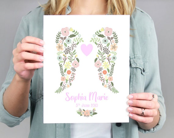 Digital Angel Baby Print, Infant Loss, Stillborn Baby, Miscarriage, Bereavement Gift, Rainbow Baby