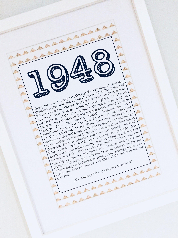 70th Birthday Gift Year Of 1948 Birth Turning 70