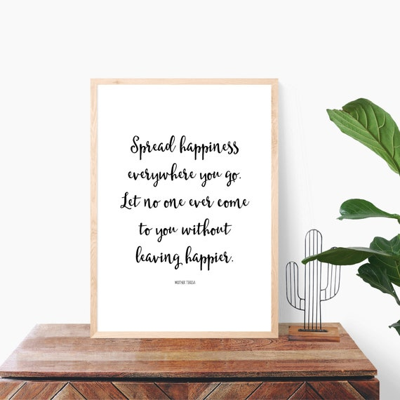 Mother Teresa Quote, Thank you Gift, Happiness Quote, Gift for Friend, Minimalist Poster, Quote Print, Friendship Gift, Wall Art, Life Quote