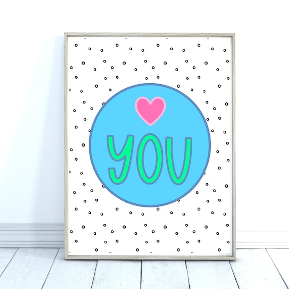 Love Art Print, Colourful Wall Art, Anniversary Gift, Bedroom Decor