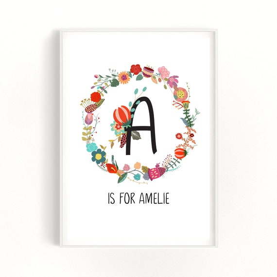 Baby Girl Gift, New Baby Gift, Baby Name Gift, Personalised Kids Art, Christening Gift, First Birthday Gift, Initial Letter Print