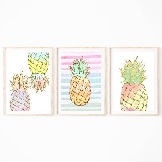 Colourful Art, Pineapple Art Prints, Set of 3, Tropical Wall Decor