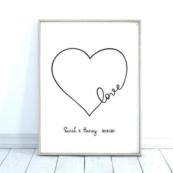 Love Heart Print, Anniversary Gift,  Wedding Date Print, Love Quote Print, With or Without Names