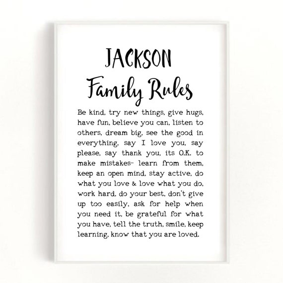 Family Rules Print, House Rules Poster, Family Gift Idea