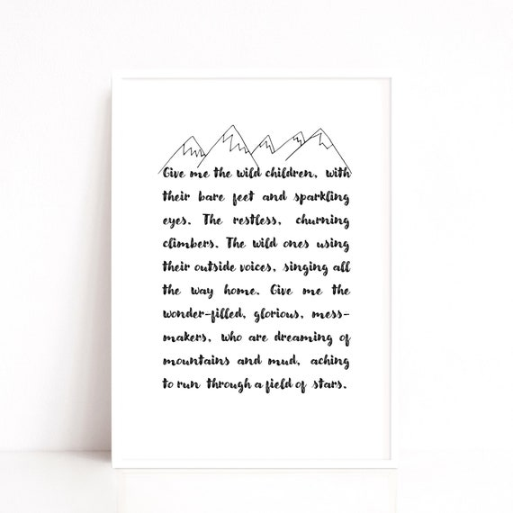 Wild Children Quote Print, Gift for Mum, Playroom Wall Hanging, Gift for Parent, Montessori Wall Print