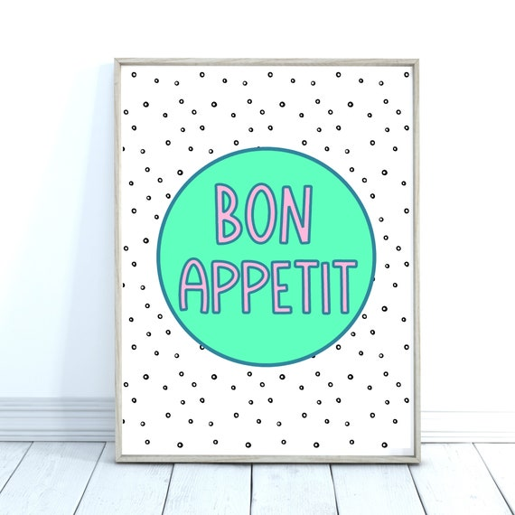 Bon Appetit Print, Kitchen Wall Art, Dining Room Decor
