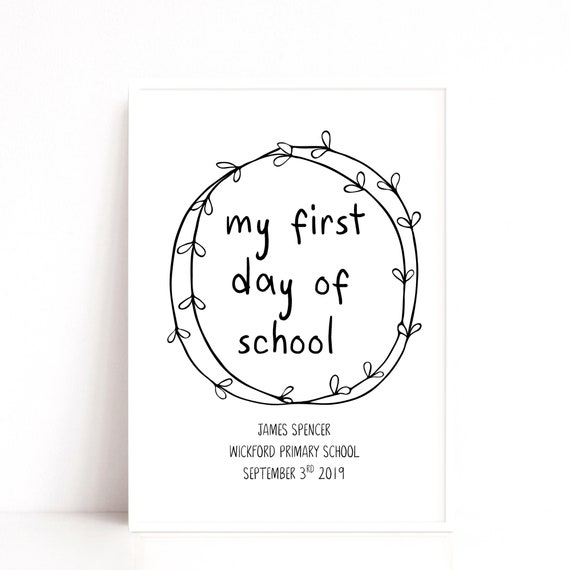 First Day of School Photo Prop, First Day Print, Starting School Keepsake