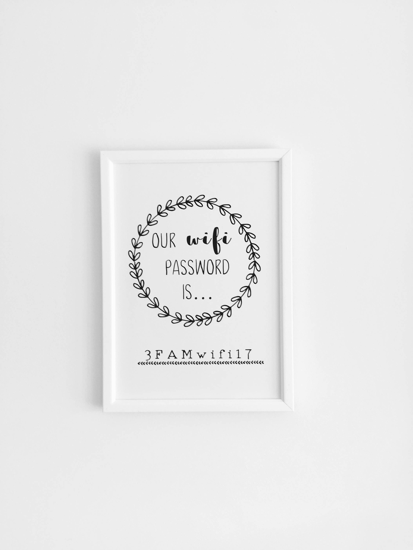 9a137de4788f9 Wifi Password Print, Guest Bedroom Decor