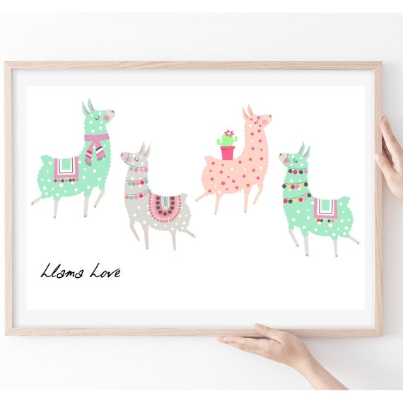 Llama Themed Gift, Llama Art Print, Gift for Llama Lover, Girls Bedroom Art