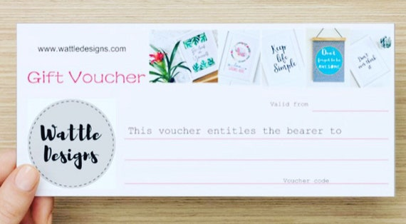 Gift Voucher, Gift Certificate,  Wall Art, Gift for Her, Wattle Designs Gift Card