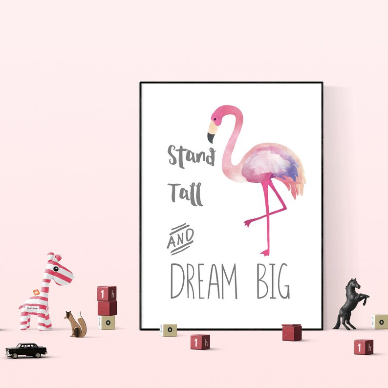 Flamingo Art Print Girls Bedroom Decor Stand Tall Quote | Etsy