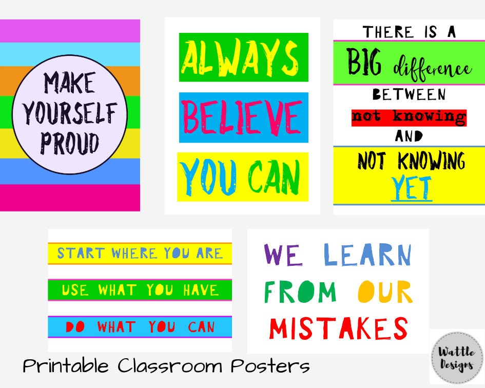 graphic regarding Printable Classroom Posters identify Clroom Decor Posters, Advancement Mentality Prints, Trainer