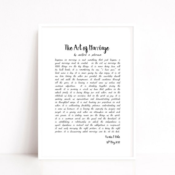 Cotton Anniversary Gift, Paper Anniversary Gift, The Art of Marriage, Unique Wedding Gift