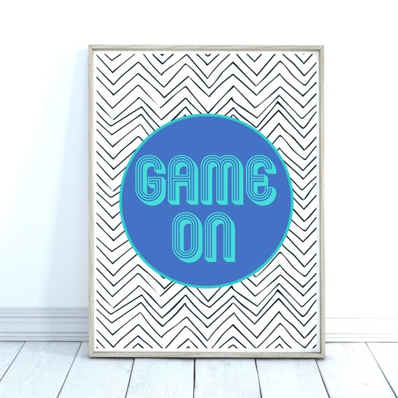 Gaming Gift, Sports Decor, Game On Quote, Playroom Decor