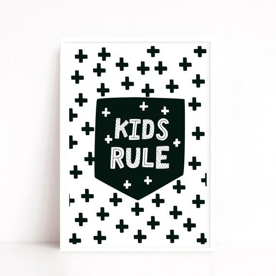 Boys Nursery Decor, Nursery Art Print, Kids Rule Quote, Playroom Decor, Monochrome Nursery, Kids Room Decor, Kids Wall Art