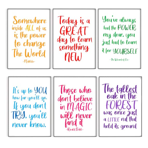 Set of 6 Classroom Quote Prints, Education Quote Posters, Teaching Resources
