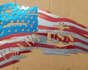 US Navy tattered American flag