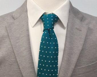"The ""Mai Tai"" Polka Dot Knit Tie."