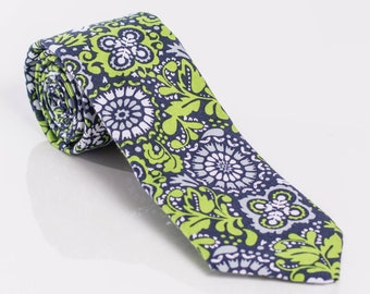 """The """"Island Green"""" Floral Tie."""