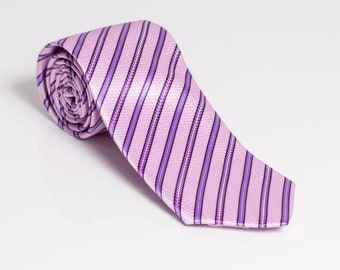 "The ""Booming Pink"" Stripped Tie"