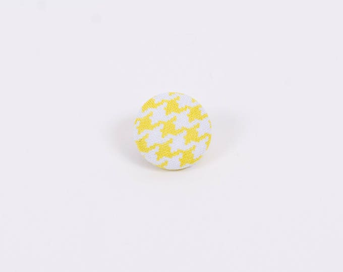 """Yellow Mellow"" Hounds-tooth Lapel Button"