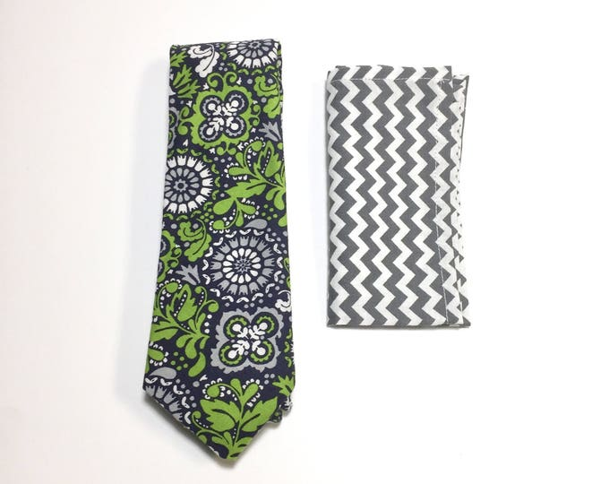 """Featured listing image: The """"Wavy Island Green Gravy"""" Tie and Square Pack"""