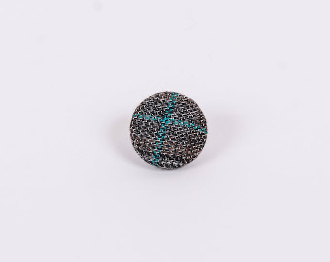 """Crossing Paths"" Plaid Lapel Button"