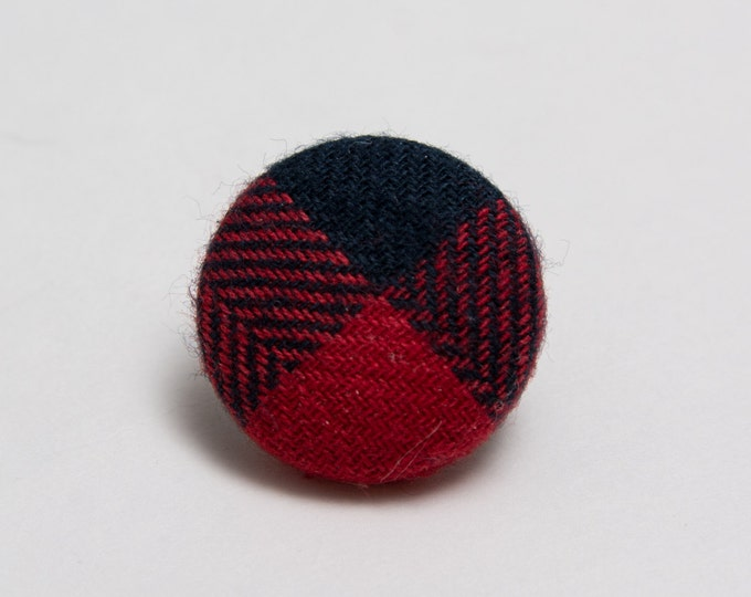 """Into the Woods"" Plaid Lapel Button"