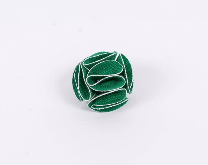 Green Flower Lapel Pin with White Trim