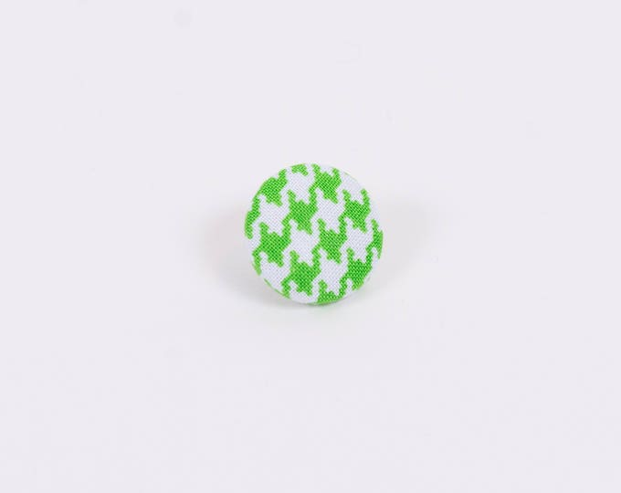 """Mean Green Machine"" Hounds-tooth Lapel Button"