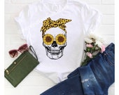 Sunflower Skull new sublimation top several Gildan styles to choose