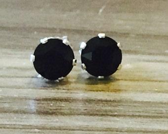 Jet Swarovski Crystal Sterling Silver Earrings